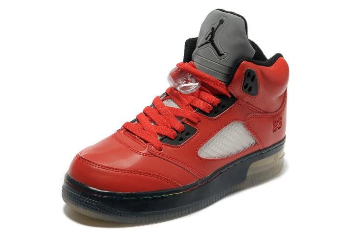 detailed look dc7ca 9fbff ... Homme Nike Air Jordan 5 Lumineux Rouge Blanc Pas Cher
